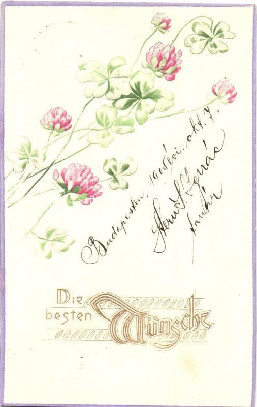 Die besten Wünsche! / Floral greeting card, Emb., Raphael Tuck & Sons Künstlerische Blümen Serie  Nr. 514B, Virágos dombornyomott üdvözlőlap, Raphael Tuck & Sons Künstlerische Blümen Serie  Nr. 514B