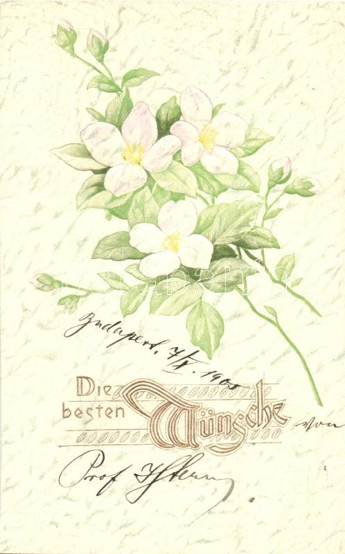 Die besten Wünsche! / Floral greeting card, Emb., Raphael Tuck & Sons Künstlerische Blümen Serie  Nr. 507B, Virágos dombornyomott üdvözlőlap, Raphael Tuck & Sons Künstlerische Blümen Serie  Nr. 507B