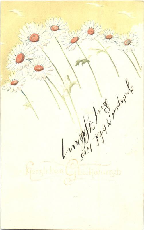 Herzlichen Glückwunsch! / Floral greeting card, Emb., Raphael Tuck & Sons Künstlerische Blümen Serie  Nr. 516B, Virágos dombornyomott üdvözlőlap, Raphael Tuck & Sons Künstlerische Blümen Serie  Nr. 516B