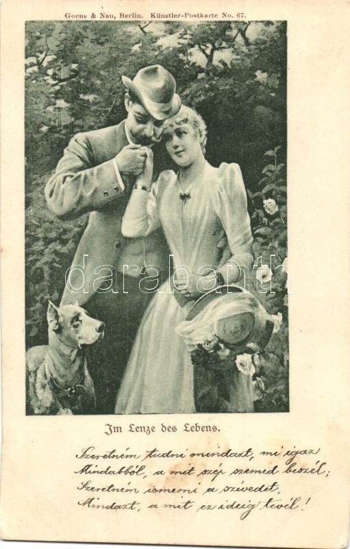 Im Lenze des Lebens / Romantic couple, Goens & Nau Künstlerpostkarte No. 67., Romantikus pár, Goens & Nau Künstlerpostkarte No. 67.