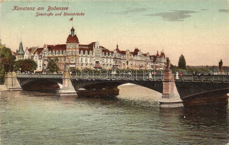 Konstanz am Bodensee, Seestrasse und Rheinbrücke / street, bridge