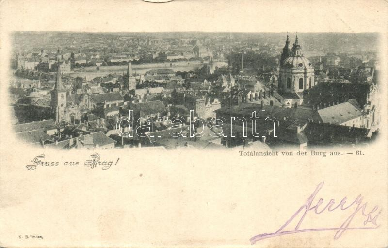 1898 Praha, Prag; Totalansicht von der Burg aus