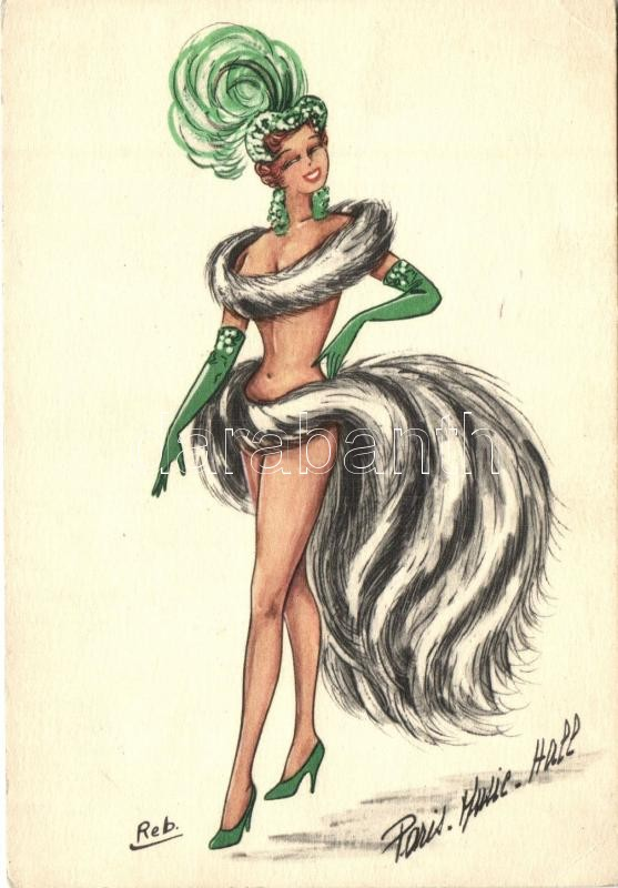 Finoman erotikus művészlap s: Reb., Paris, Music Hall / Gently erotic art postcard s: Reb.
