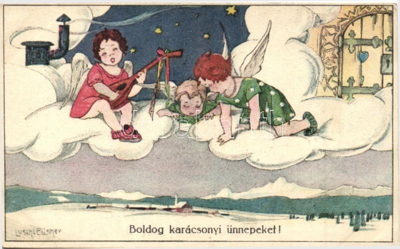Boldog karácsonyi ünnepeket!, B.K.W.I. 3206-1. s: Luschi Elischer, Christmas, angels, B.K.W.I. 3206-1. s: Luschi Elischer