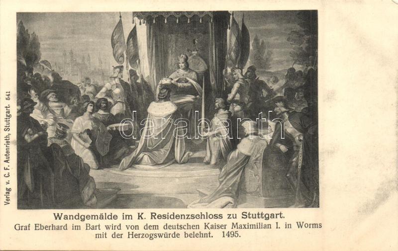 Stuttgart, Kgl. Residenzschloss, Wandgemalde  / palace, interior, fresco