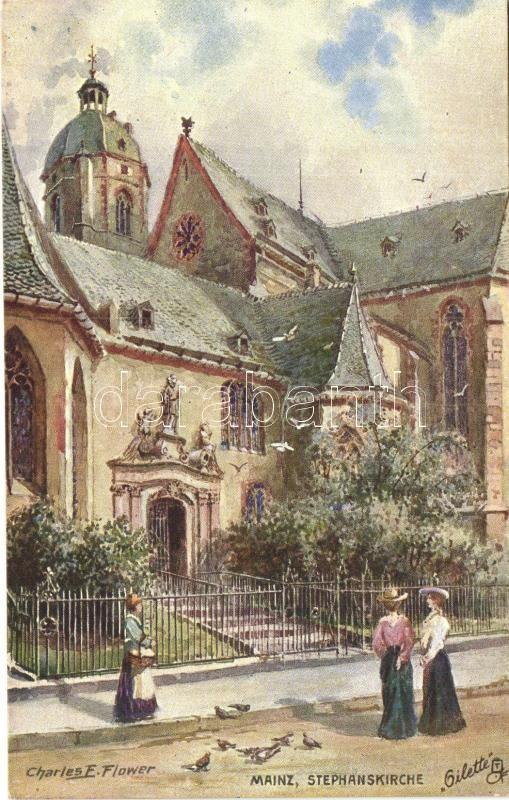 Mainz, Stephanskirche / church, Raphael Tuck & Sons oilette Serie Mainz No. 187 B., Kollektion Deutscher Stadte s: Charles E. Flower