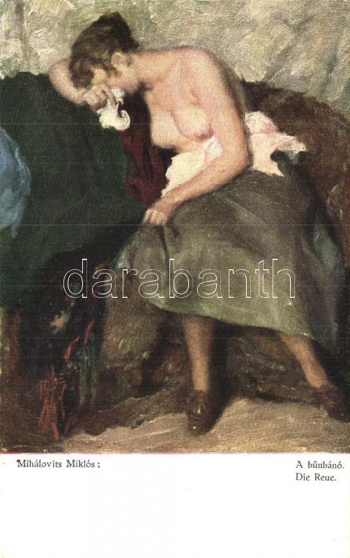 Die Reue / Erotic nude art postcard s: Mihálovits Miklós, A bűnbánó / Meztelen erotikus művészlap s: Mihálovits Miklós