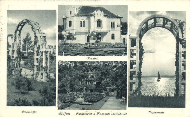 Siófok, Kaszinó, Rózsaliget, Naplemente, Park a Központi szállodával