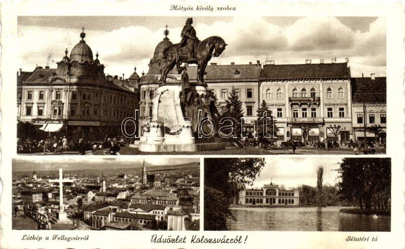 Cluj, statue, lake, panorama, Kolozsvár, Mátyás király szobra, látkép a Fellegvárról,  Sétatéri tó
