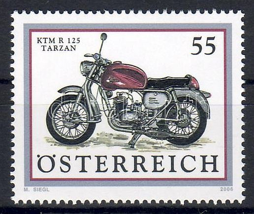 Old motorcycles: KTM R 125 Tarzan margin stamp, Régi motorok: KTM R 125 Tarzan ívszéli bélyeg, Alte Motorräder: KTM R 125 Tarzan Marke mit Rand