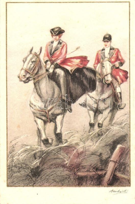 Italian art postcard, couple on horses, Elite CCM 2555-1. s: Ambart, Olasz művészlap, lovas pár, Elite CCM 2555-1. s: Ambart