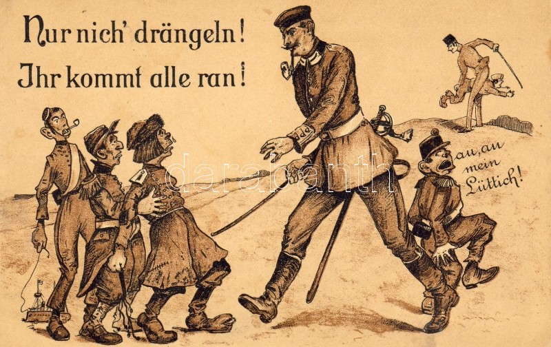 Reprimand, humorous military postcard, Megrovás, humoros katonai lap