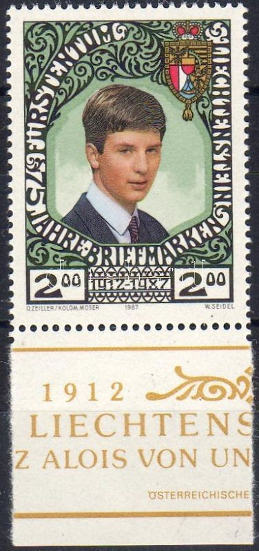 75th anniversary of the Liechtenstein stamp, margin stamp, 75 éves a liechtensteini bélyeg, ívszéli bélyeg