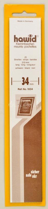 Hawid 1034 Strips 25/pack, 210x34mm, black, Hawid 1034 Filacsík, 25db, 210x34mm, fekete, Hawid 1034 Klemmtaschen Streifen, 25 streifen, 210x34mm schwarz