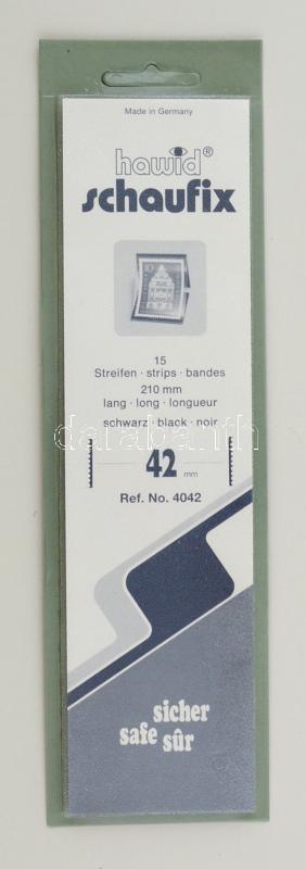 Hawid 4042 Block sizes 15/pack 210x42mm, black, Hawid 4042 Filatasak 15 db/csomag 210x42mm, fekete, Hawid 4042 Klemmtaschen Blockstreifen 15 Streifen 210x42mm, schwarz