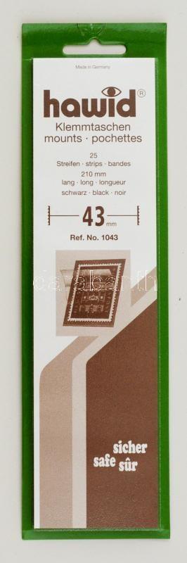 Hawid 1043 Block sizes 25/pack 210x43mm, black, Hawid 1043 Filatasak 25 db/csomag 210x43mm, fekete, Hawid 1043 Klemmtaschen Blockstreifen 25 Streifen 210x43mm, schwarz