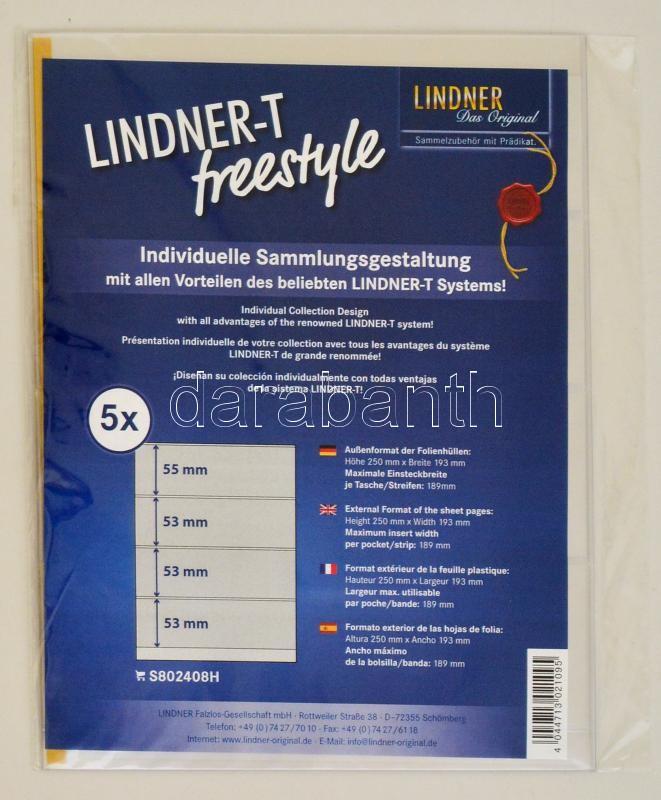 LINDNER-T freestyle foil sheets with 4 strips (53 mm) and self-adhesive strip - pack of 5, Lindner-T Freestyle albumpótlás S802408H, LINDNER-T freestyle Folienhülle mit 4 Einsteckstreifen (53 mm) und Selbstklebestreifen, 5er-Packung