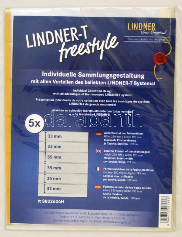 LINDNER-T freestyle foil sheets with 6 strips (33 mm) and self-adhesive strip - pack of 5, Lindner-T Freestyle albumpótlás S802606H, LINDNER-T freestyle Folienhülle mit 6 Einsteckstreifen (33 mm) und Selbstklebestreifen, 5er-Packung