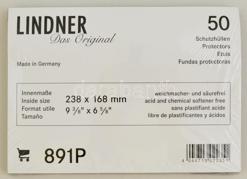 Protective Covers/Sleeves, internal measurements: 238 x 168 mm - pack of 50, 891P, Schutzhüllen Innenmaß 238 x 168 mm, 50er-Packung