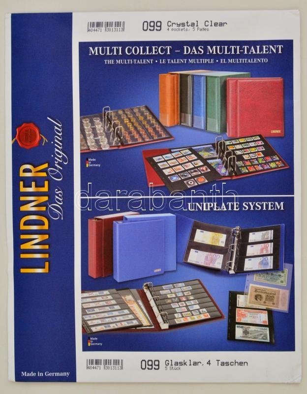 UNIPLATE pages with 4 pockets (97 x 128 mm),crystal clear, pack of 5, 099 - víztiszta albumpótlás, UNIPLATE Blätter mit 4 Taschen (97 x 128 mm), glasklar, 5er-Packung