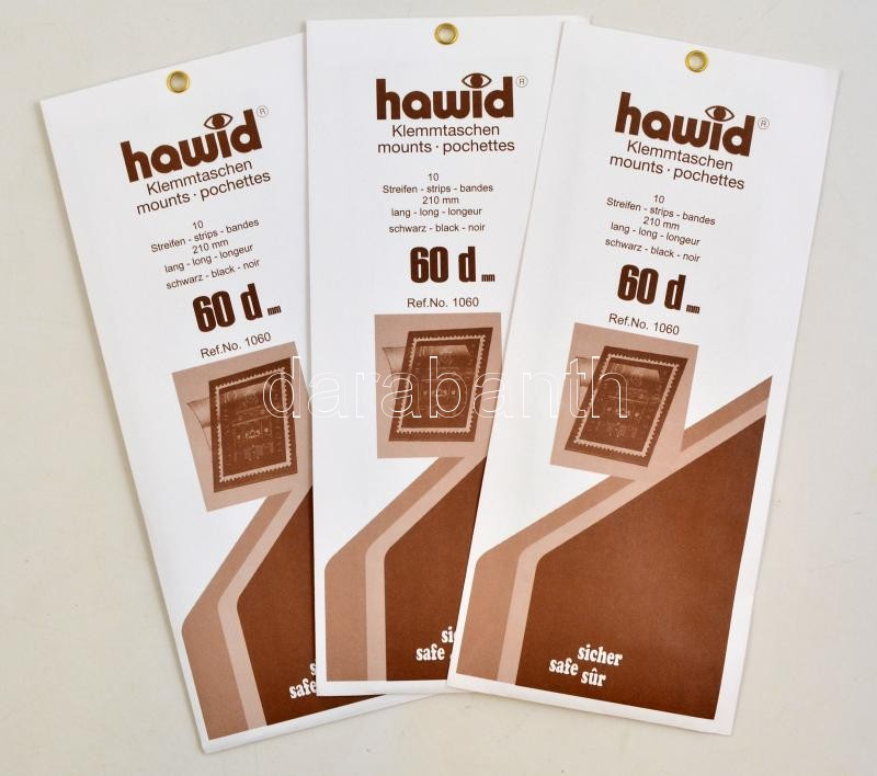 hawid Strips 1060d 210 x 60 mm, black, double weld - pack of 10, Hawid 1060d Filacsík, 10db, 210x60 mm, fekete, hawid Klemmtaschen Streifen 1060d 210 x 60 mm, schwarz mit doppelter Klemmnaht, 10 Stück