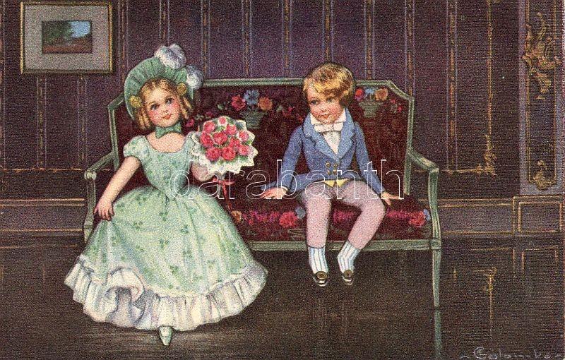 Children, flower s: E. Colombo, Gyerekek, virág s: E. Colombo