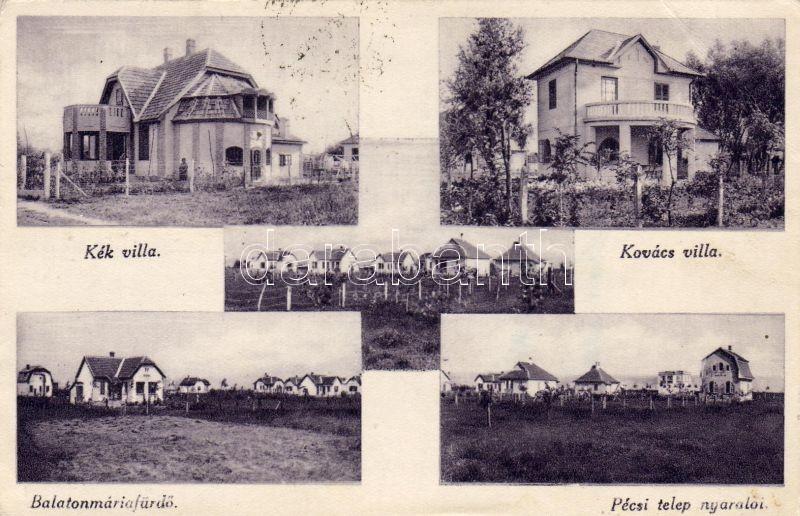 Balatonmáriafürdő, Kék és Kovács villa, Pécsi telep nyaralója