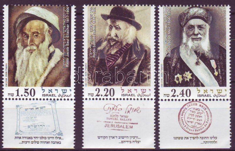 3 rabbis set with tab, 3 rabbi tabos sor, 3 Rabbis Satz mit Tab