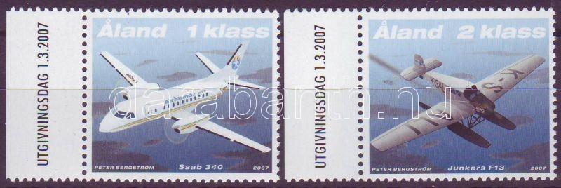 Mail planes margin set, Postai repülőgépek ívszéli sor, Postflugzeuge Satz mit Rand