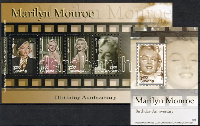 Marilyn Monroe mini sheet + block, Marilyn Monroe kisív + blokk, Marilyn Monroe Kleinbogen + Block