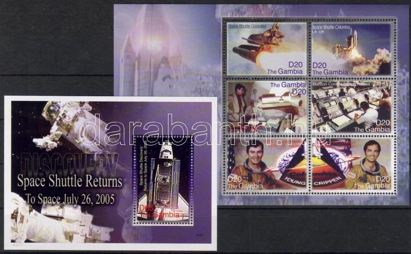 "Space Shuttle Columbia mini sheet + block, Columbia űrsikló kisív + blokk, Raumfähre ""Columbia"" Kleinbogen + Block"