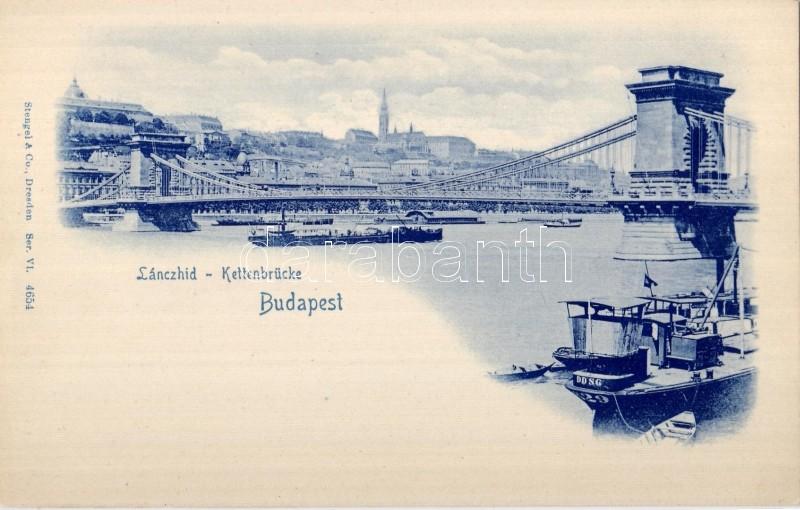 Budapest, Lánchíd, gőzhajó, DDSG, csónakok, Stengel