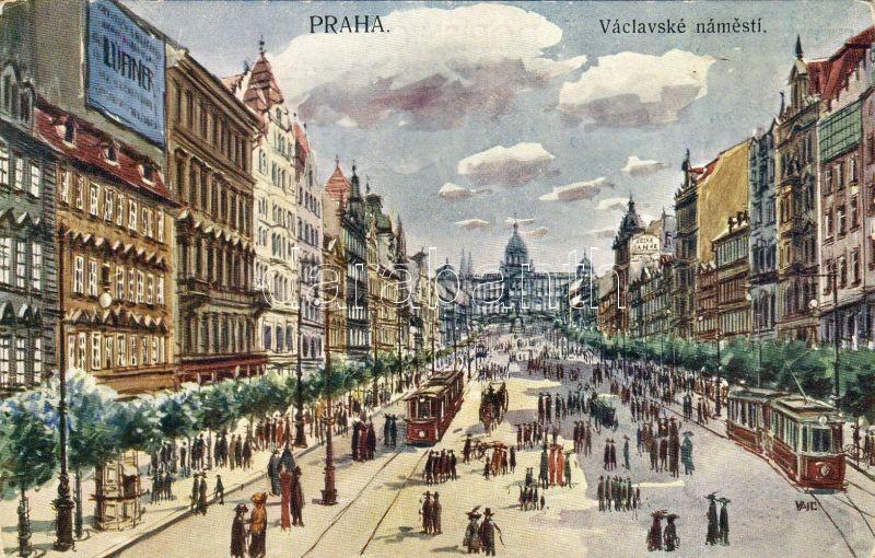 Prága Vencel tér, villamosok, Prague Wenceslas square, trams