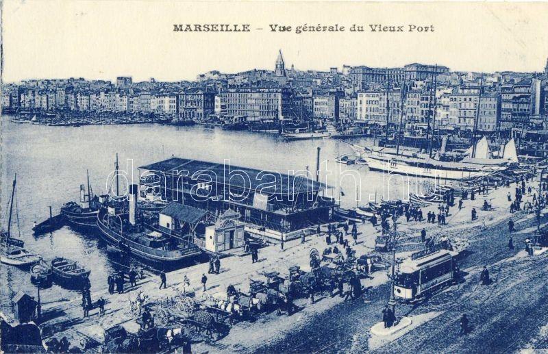 Marseille, Vieux Port / old port, steamships, tram