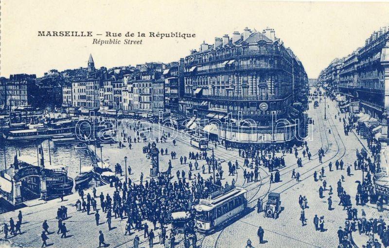 Marseille, Rude de la Republique / street, tram, automobile, steamships