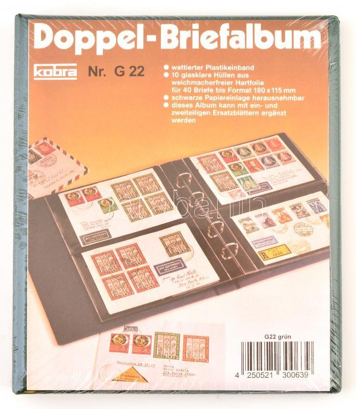 KOBRA - Double-FDC-album with 10 crystal clear, double-sided sleeves, green 270 x 230 mm, K-G22-G KOBRA FDC album 40 férőhelyes, kettes osztású, 10 lappal, zöld, 270 x 230  mm, KOBRA-Doppel-FDC-Album mit 10 glasklaren, geteilten Hüllen , grün, 270 x 230 mm