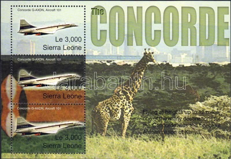 Concorde minisheet (giraffe), Concorde kisív (zsiráf), Concorde Kleinbogen (Giraffe)