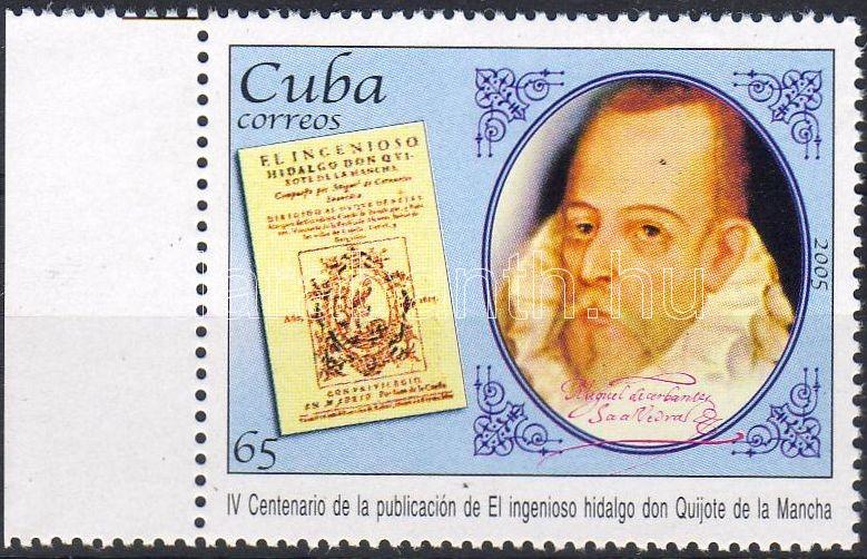 """Don Quijote by Cervantes was published first 400 years ago margin stamp, 400 éve jelent meg Cervantes Don Quijote című műve ívszéli bélyeg, 400. Jahrestag der Veröffentlichung des """"Don Quijote de la Mancha"""" Marke mit Rand"""