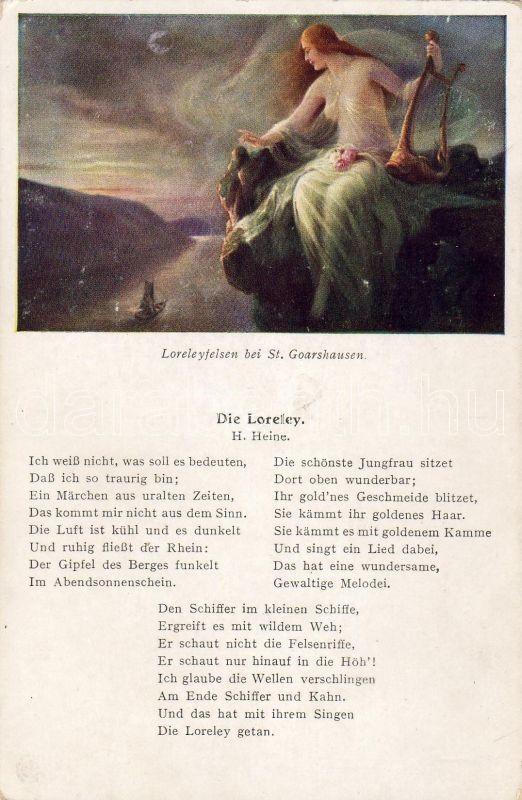 Sankt Goarshausen, Lorelei rock, H. Heine: Lorelei, Sankt Goarshausen, Lorelei szikla, H. Heine: Loreley