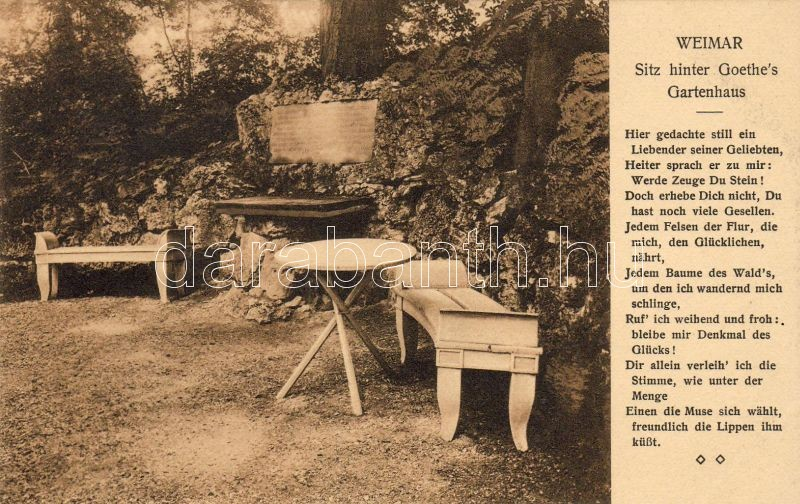 Weimar Goethe's summer house, bench, Weimar Goethe nyaralója, pad