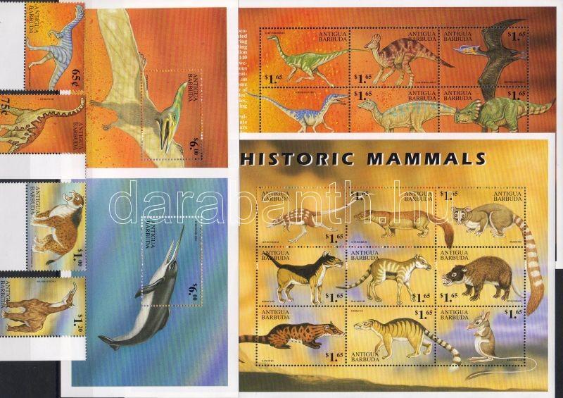Ősállatok ívszéli sor + kisívsor + blokksor, Prehistoric animals margin set + minisheet set + block set, Prähistorische Tiere Satz mit Rand + Kleinbogensatz + Blocksatz