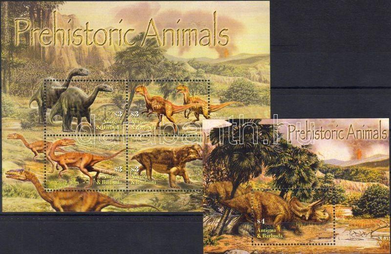 prehistoric Animals minisheet + block, Ősállatok kisív + blokk, Prähistorische Tiere Kleinbogen + Block