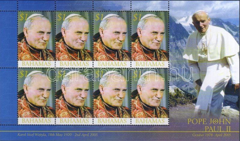 Death of pope John Paul mini sheet, II János Pál pápa emlékére kisív, Tod von Papst Johannes Paul II Kleinbogen