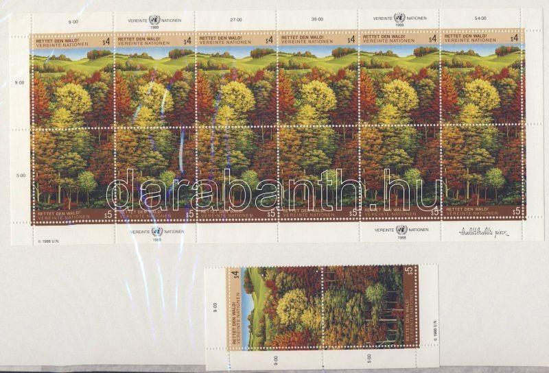 Save the forests mini sheet + corner pair, Erdővédelem kisív + ívsarki pár, Rettet den Wald Kleinbogen + Paar mit Rand