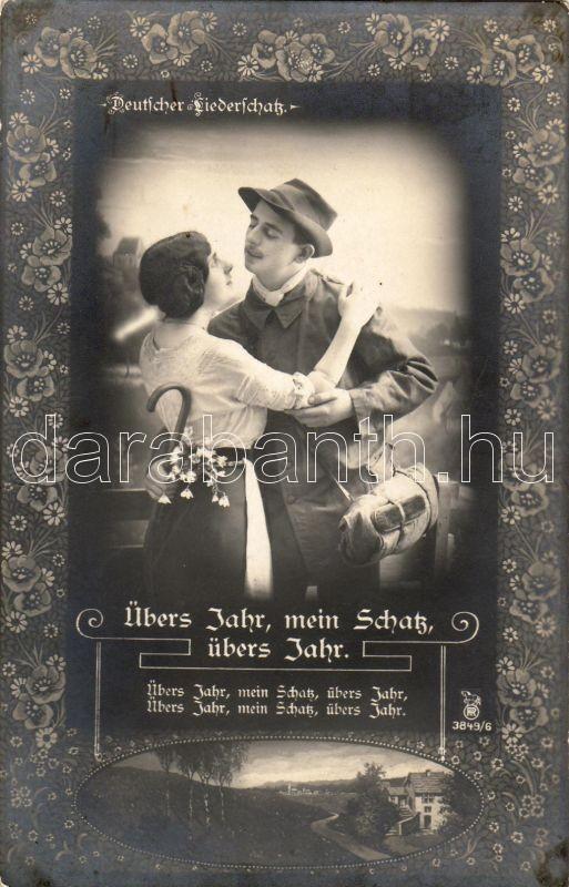 Übers Jahr, mein Schatz, übers Jahr / Folk song, couple, floral, Übers Jahr, mein Schatz, übers Jahr / Népdal, szerelmes pár, floral