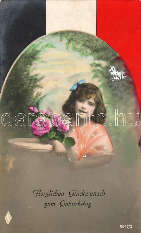 Girl with rose, German flag, decorated greeting card, Kislány rózsával, német zászló, díszített képeslap