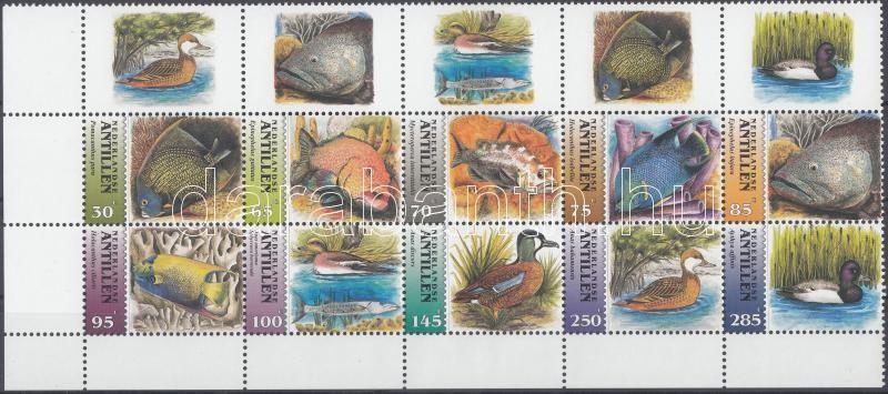 Fish and ducks corner block of 10, Halak és vadkacsák ívsarki tízestömb, Fische und Enten Zehnerblock mit Rand