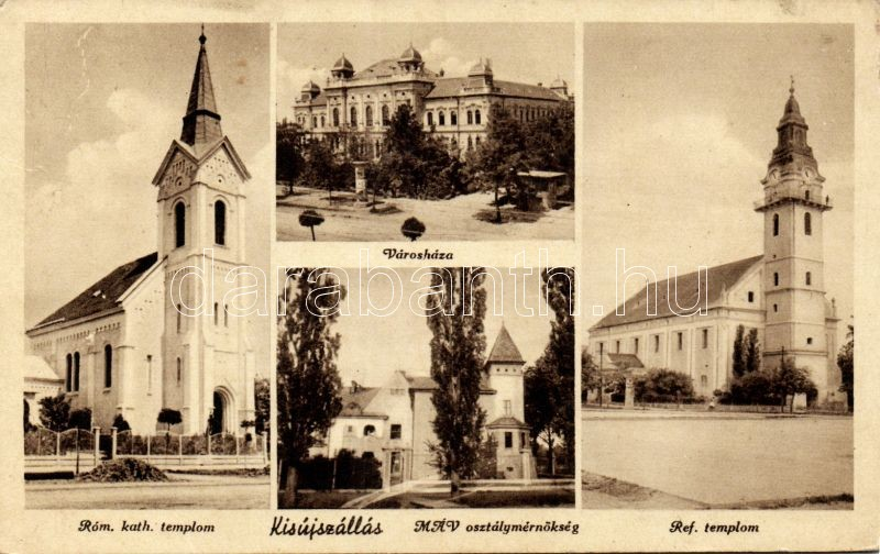 Kisújszállás, Római katolikus templom, városháza, MÁV osztálymérnökség, Református templom