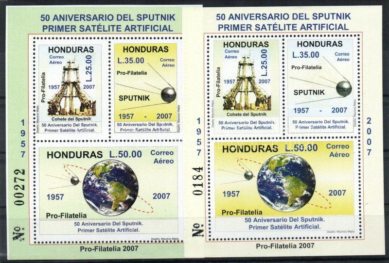 50th anniversary of the space travel 2 blocks (machine offset of the number), 50 éves az űrutazás 2 blokk (a sorszám gépszínátnyomatával), 50 Jahre Weltraumfahrt 2 Blöcke