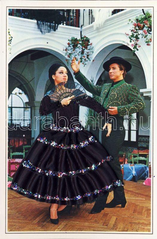 Spanish dancers, textile and silk card, Spanyol táncosok, textil lap